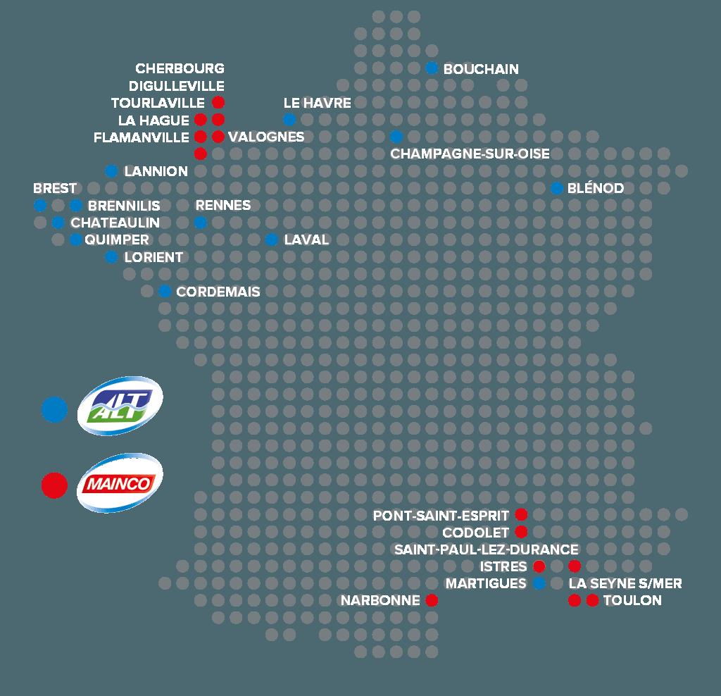 Atlantique Logistique de Transport ALT-MAINCO Carte d'implantation des agences